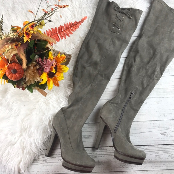 f6889da1447 Suede Taupe Grey Laceup Thigh High Heel Boots 8. M 5b9608ae7386bcc0e59017dd